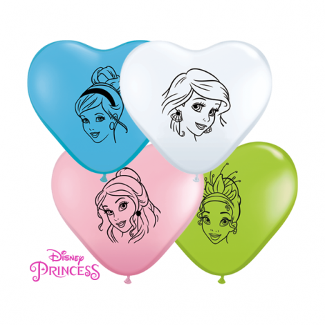 "Qualatex 6"" Disney Princess Heart Balloons"