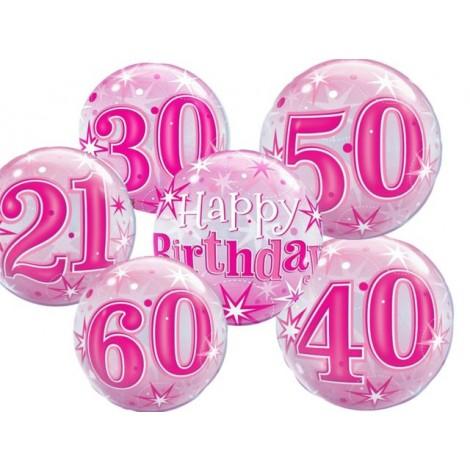 "Qualatex 22"" 'Pink Starburst Sparkle' Birthday Bubble Balloon"
