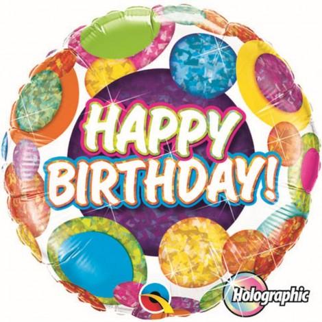 "Qualatex 18"" 'Big Dots & Glitz' Birthday Holographic Foil Balloon"