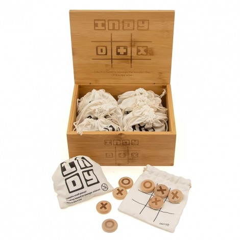 Indy 0 & X (Noughts & Crosses) Wooden Pebble Game – 24pc Display Box