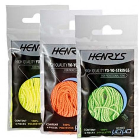 Henry's Yo-Yo String Pack - 6x Neon Orange Strings