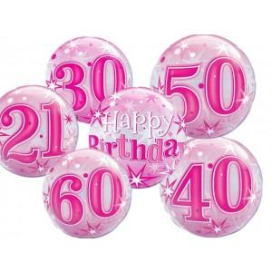"Qualatex 22"" 'Pink Starburst Sparkle' Birthday Bubble Balloon (various)"