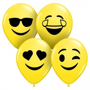 "Qualatex 5"" Yellow Smile Face Ballons - Assortment"