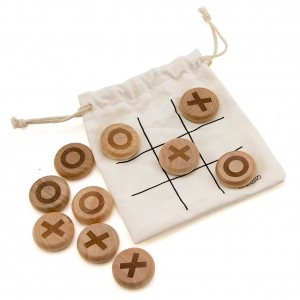 Indy 0 & X (Noughts & Crosses) Wooden Pebble Game – Individual Set